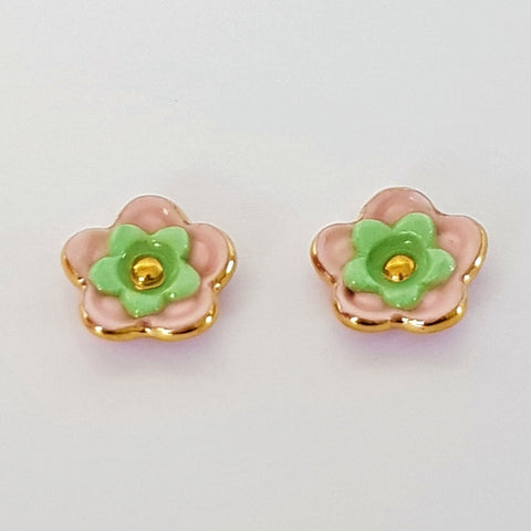 Floral collective studs in pink and mint