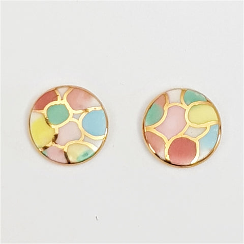 round studs in pastels with gold