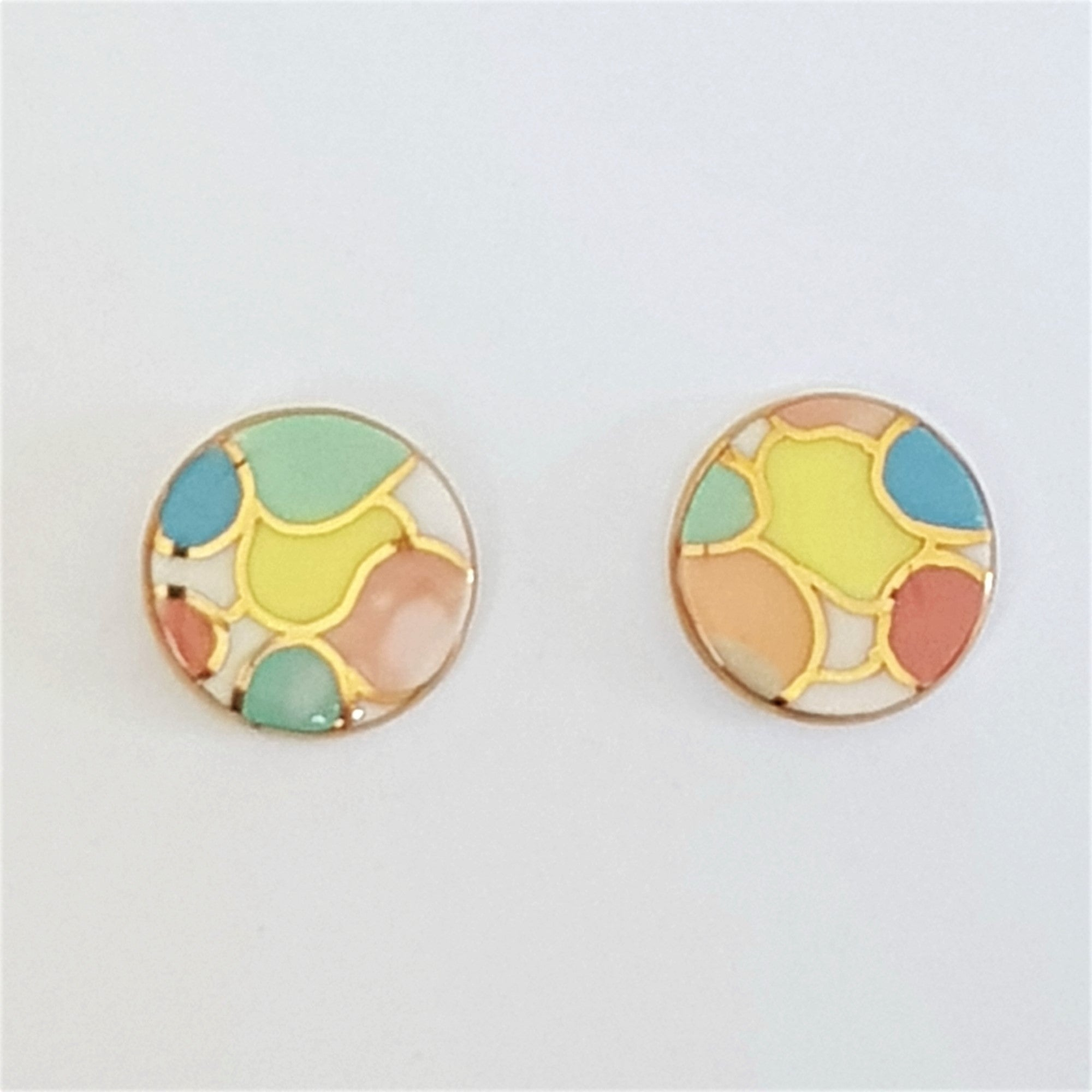 round studs in bright pastel colours with gold