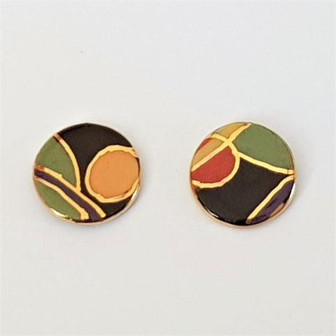 Art Deco porcelain stud earrings