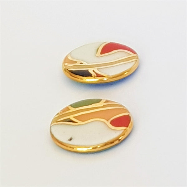 abstract porcelain stud earrings with gold linework