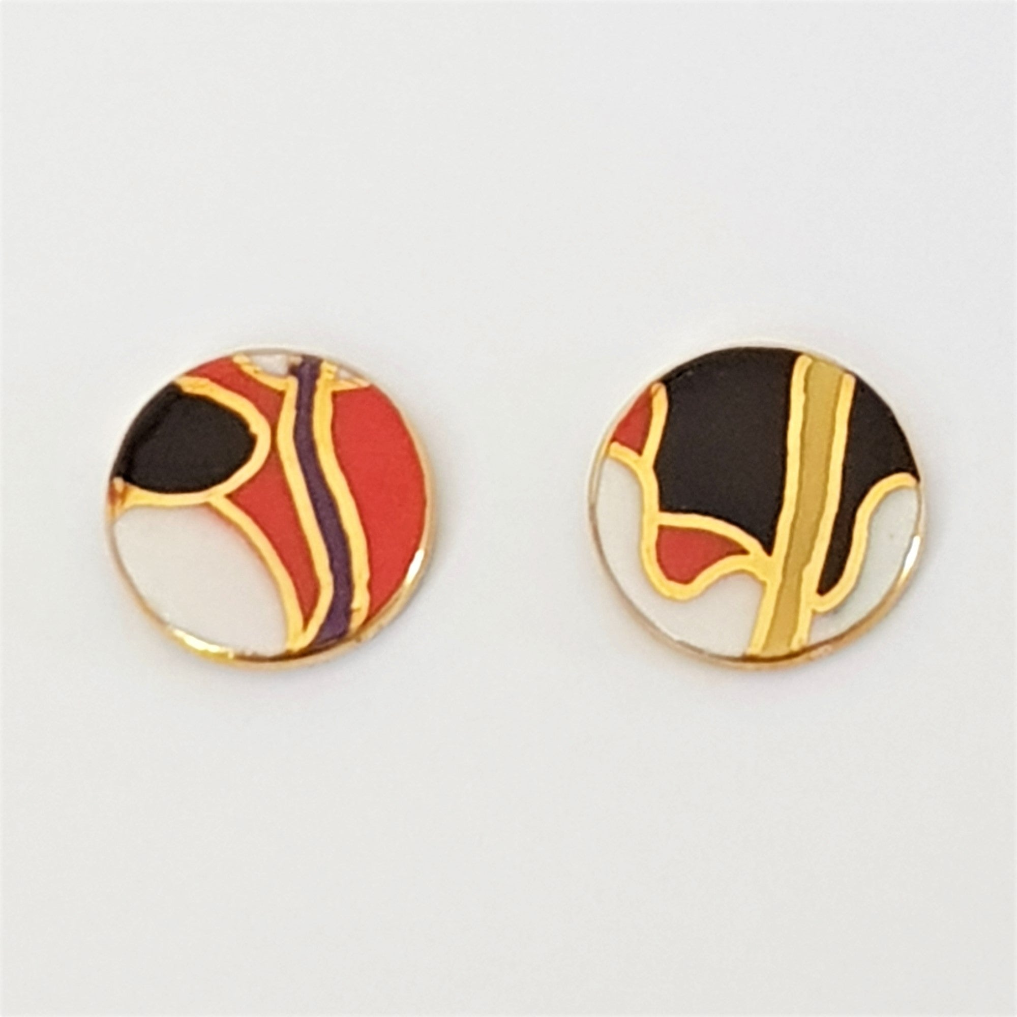 black, white and red porcelain stud earrings with 22kt gold
