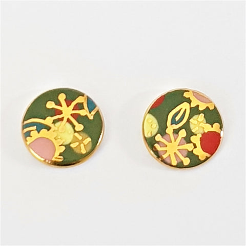 "round ""Straya"" studs in green and gold"