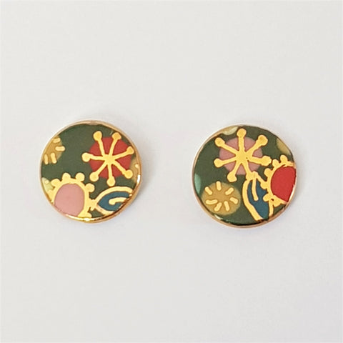 green porcelain studs with gold flowers
