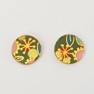 round porcelain floral stud earrings