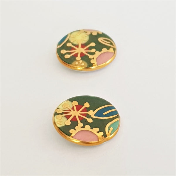 "green ""Straya"" round porcelain studs with  22kt gold floral design"