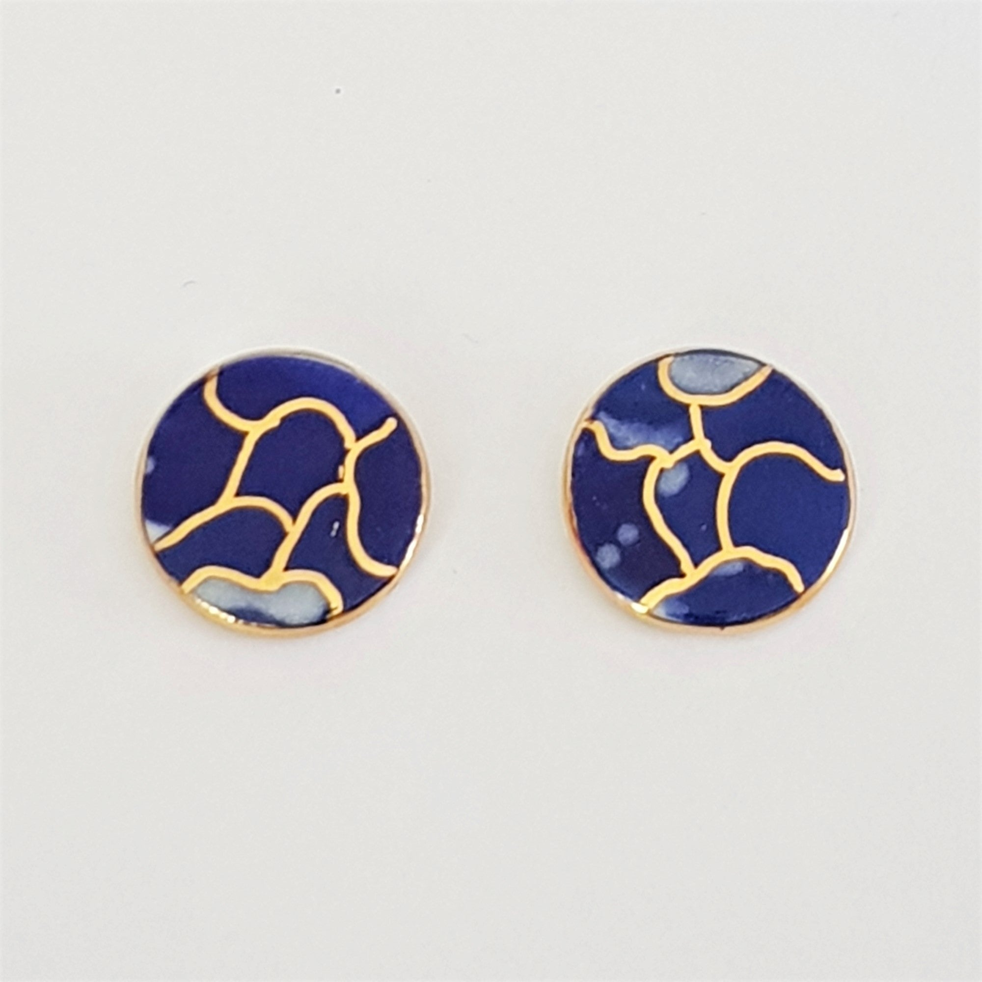 indigo and gold round porcelain studs
