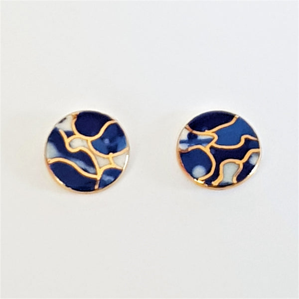 Indigo porcelain and gold earrings