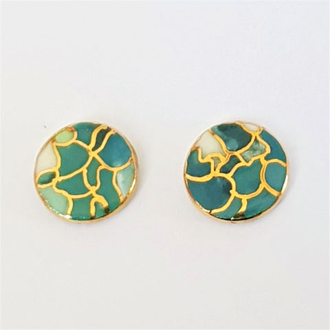 round stud earrings in teal with gold highlights