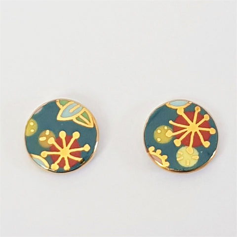 "Teal ""Straya"" porcelain stud earrings"