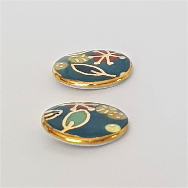 "Teal ""Straya"" stud earrings with 22kt gold detailing"