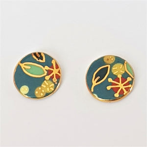 round porcelain studs . teal with gold floral design