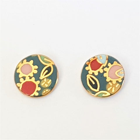 "porcelain round studs in teal ""Straya"" design"