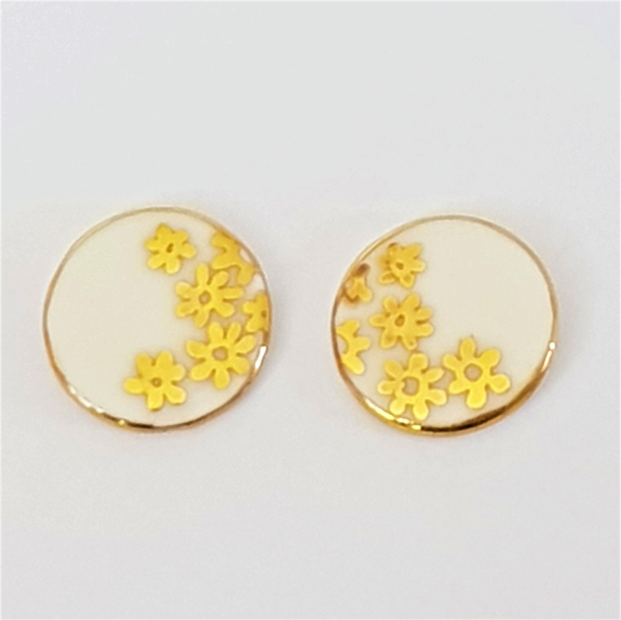 gold and white round porcelain stud earrings