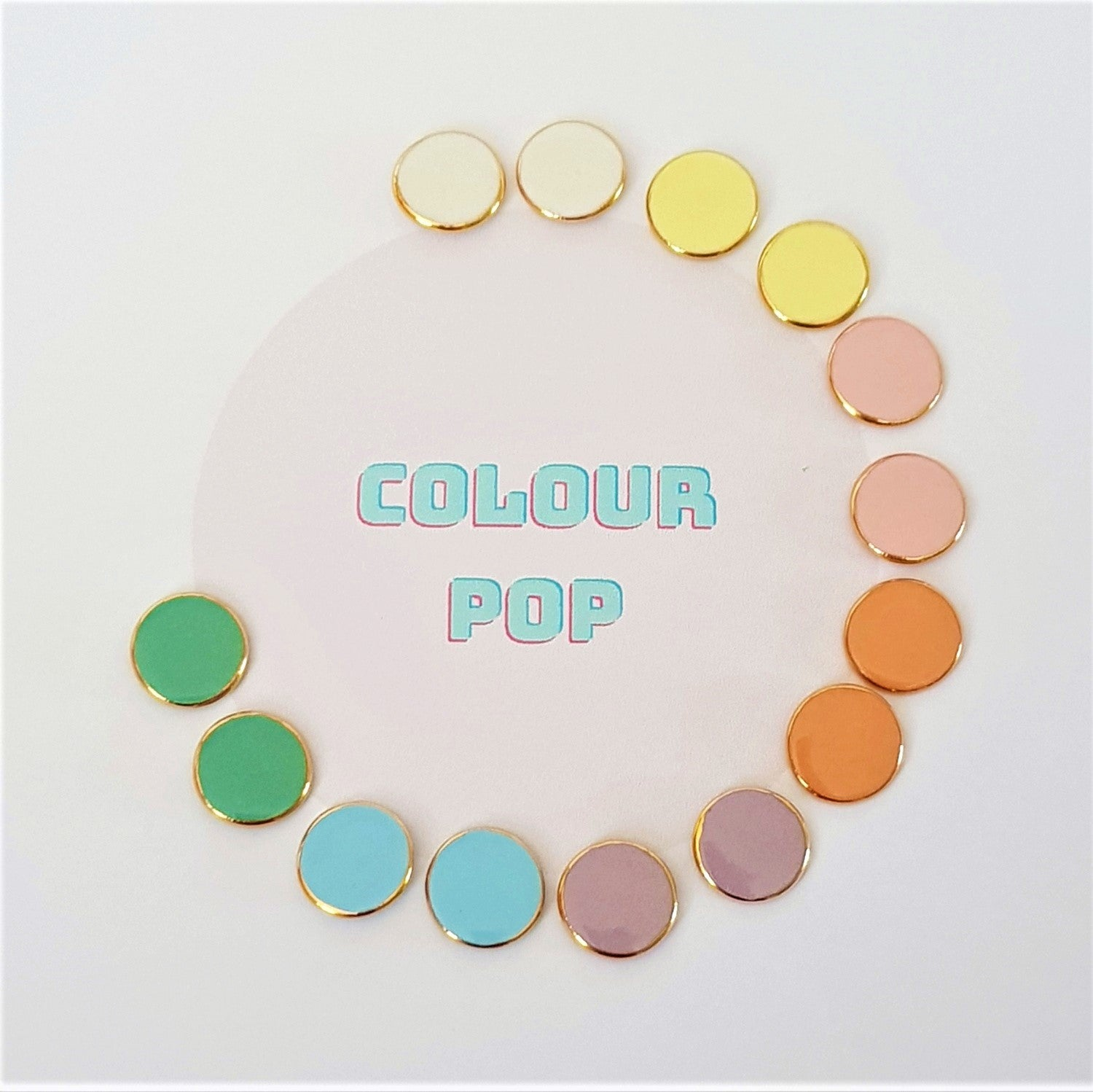 Colour pop tiny studs in pastels with 22 kt gold