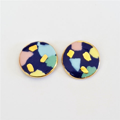round studs in indigo terrazzo style with gold