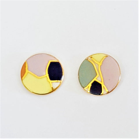 round stud earrings in soft pastel colours and gold detailing