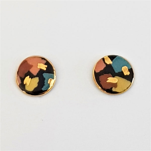 Tiny studs, black terrazzo style with gold.