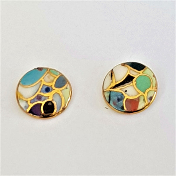 multi-coloured porcelain studs