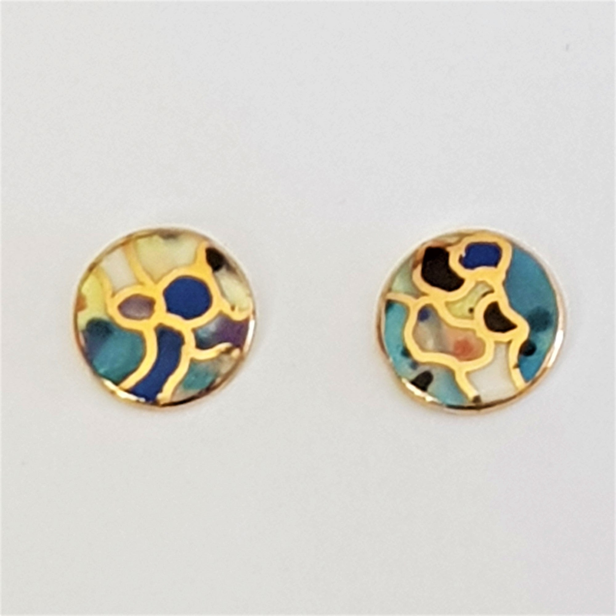 round multi-coloured tiny porcelain studs with gold detail