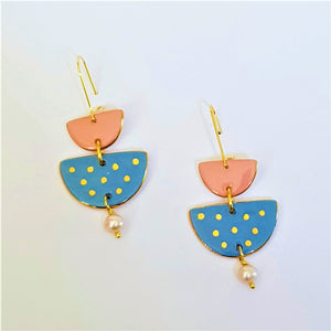 soft pink and powder blue drop earrings with a pearl