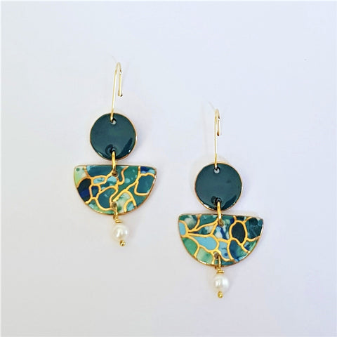 Deep teal and greens , two-tiered earrings with freshwater pearls