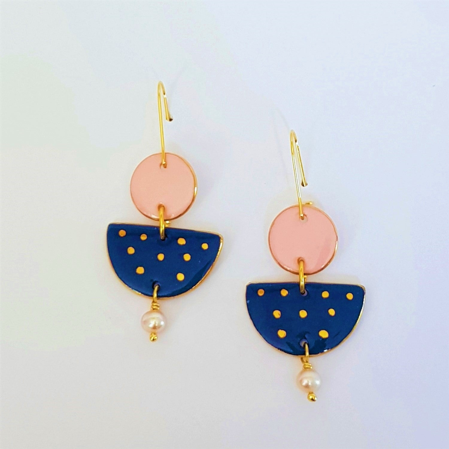Soft pink and denim blue , two-tiered earrings with freshwater pearls