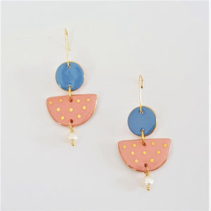 Two tiered porcelain earrings with pearls and gold - pink and light blue.