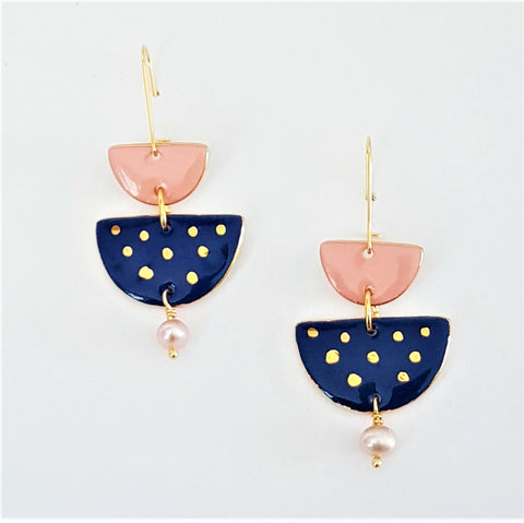 Two tiered porcelain earrings with pearls and gold - indigo and pink.