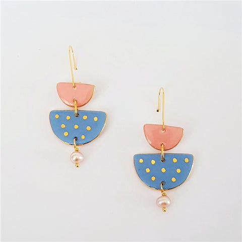 Two tiered porcelain earrings with pearls and gold - soft blue and pink.