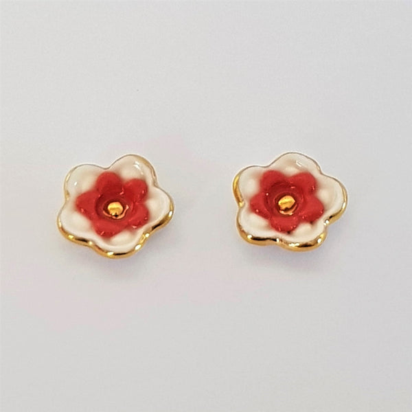 Floral collective studs in white and red