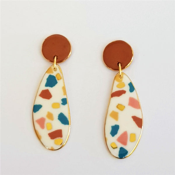 Porcelain double drop earrings with rust tops ,white terrazzo effect and gold.