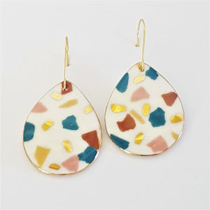 White Terrazzo drop earrings