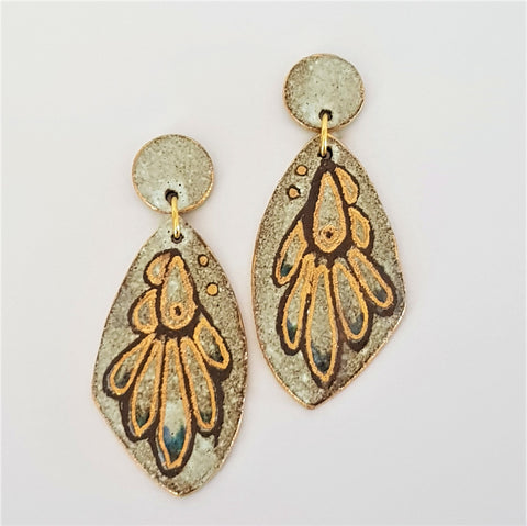 Earthy double drop earrings - wings