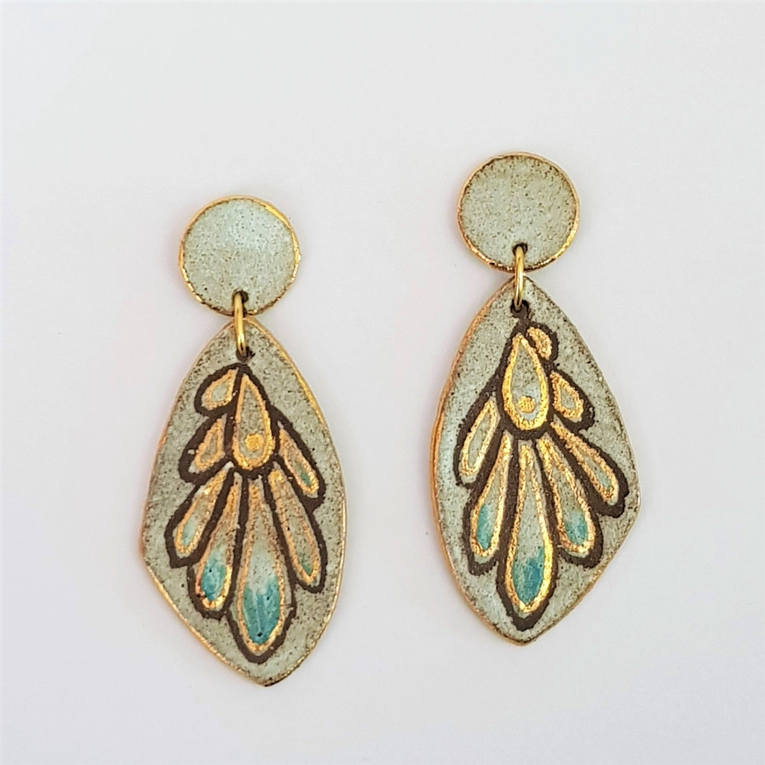 Earthy wing earrings in dark clay and matte glaze with gold