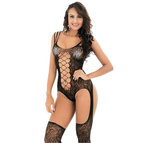 ef9b03c56 E-Laurels Women s Fishnet Bodystocking Sexy Strappy Crotchless Bodysuits  Plus Size Lingerie(Style 2