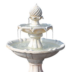 3 Tier Solar Powered Water Fountain - Ivory