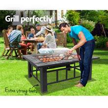 Load image into Gallery viewer, Grillz Fire Pit BBQ Grill Stove Table Ice Pits Patio Fireplace Heater 3 IN 1