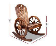 Load image into Gallery viewer, Rocking Chair Outdoor Garden Wagon Wheels