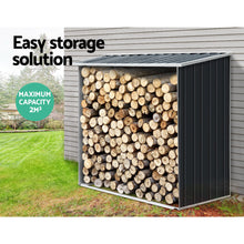 Load image into Gallery viewer, Giantz Log Firewood Storage Shed Galvanised Steel Garden Outdoor 2m³ Shelter 163x83x154CM