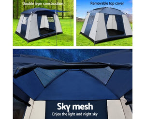 6 Person Dome Camping Tent - Navy and Grey with free delivery