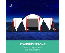 Load image into Gallery viewer, 12 Person Canvas Dome Camping Tent - Navy & Grey with free delivery