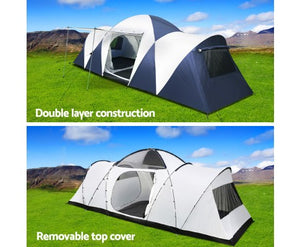 12 Person Canvas Dome Camping Tent - Navy & Grey with free delivery