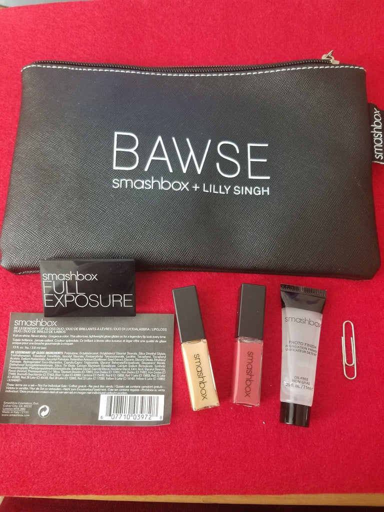 Smashbox & Lilly Singh Makeup Bag w/ 4 Samples - Travel Size ❤️ 100% Authentic - I Have Cosmetics