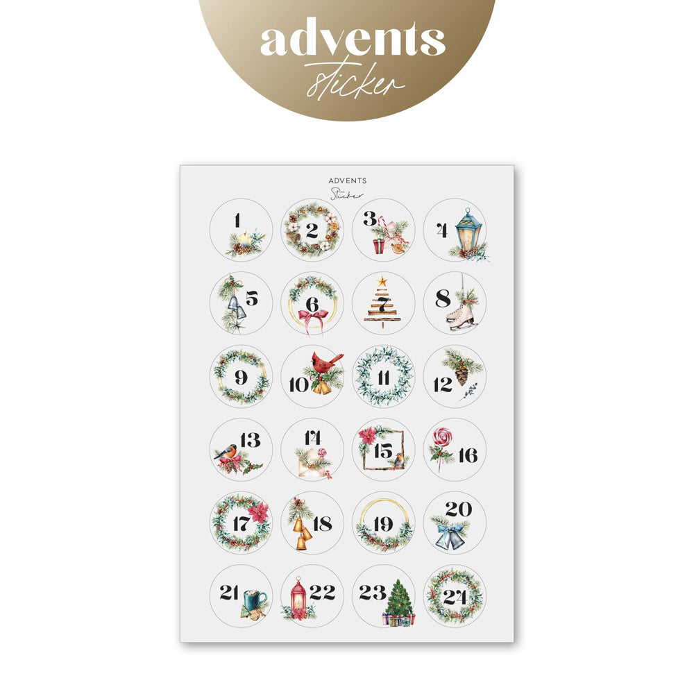 Adventskalender Sticker - Watercolor