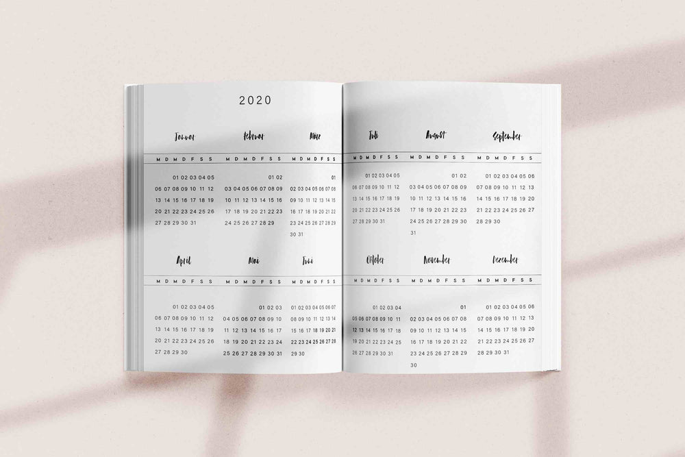 "Weekly Kalender A5 ""Golden White"" 2020"