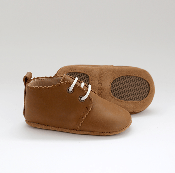 Burrow & Be Baby Shoes Oxford Leather Shoe - Soft Sole - Caramel