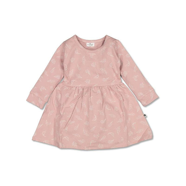 Burrow & Be Girls Dress Long Sleeve Jersey Dress - Flutter