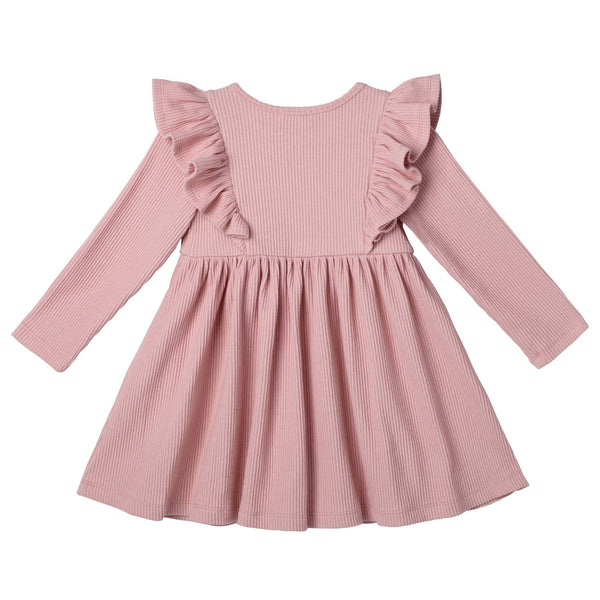 Designer Kidz Girls Dress Hazel L/S Rib Knit Dress - Dusty Pink