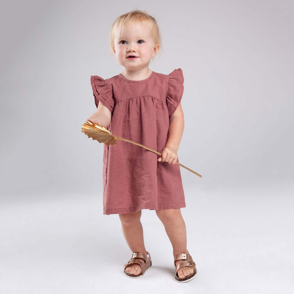 Linen Prarie Frill Sleeve Dress - Parnell Baby Boutique